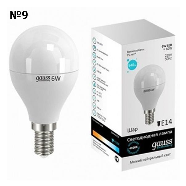 Светодиодная лампа GAUSS 4100 K, 6.0W Е14