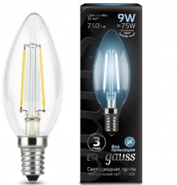 Лампа Gauss LED Filament  свеча прозрачная 9w E14 4100k