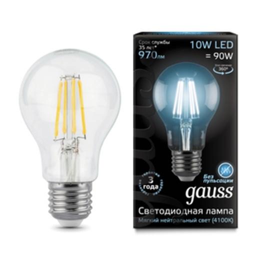 Лампа Gauss LED Filament A60 E27 10W 4100K