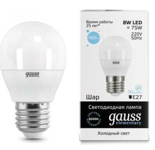 Лампа Gauss LED Elementary Globe 8W E27 6500K