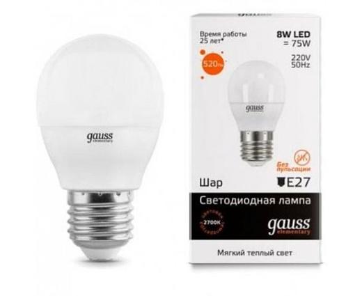 Лампа Gauss LED Elementary Globe 8W E27 3000K