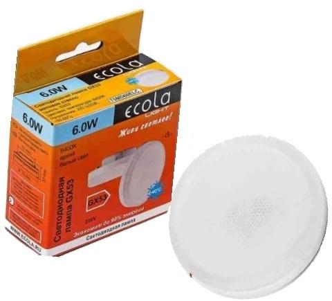 Лампа ecola GX53, 6 вт 6400к (Матовое стекло)